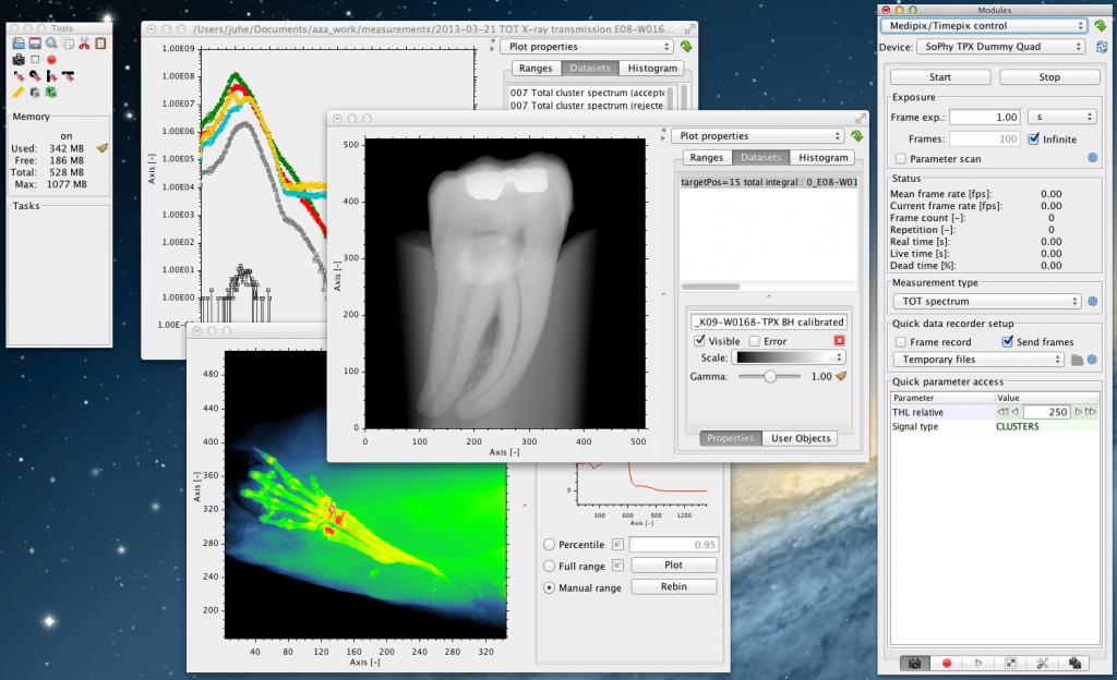 Medipix/Timepix control software SoPhy screenshot