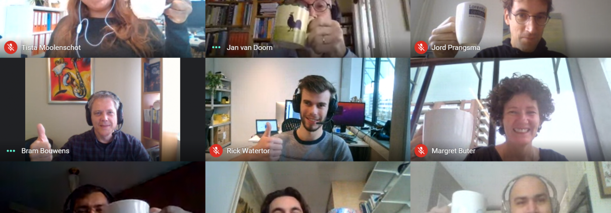 Colleagues working from home